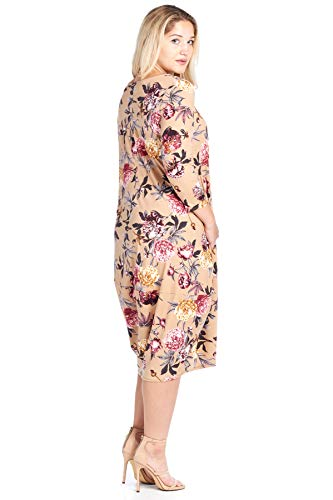 Hem Solid 3 Size Pocket Midi Mocha Floral Ami in Sleeve Bubble Plus Dress 12 Made 4 USA 4Hnq8t1wI