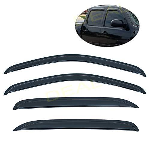 DEAL 4pcs smoke vent window visor with outside mount tape-on type fit 2007-2014 Silverado/Sierra 2500HD 3500HD & Suburban Yukon XL 1500 2500, 2007-2013 Sierra/Silverado 1500 Avalanche, Crew Cab Only