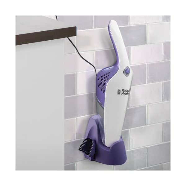 Russell Hobbs 19860 Cordless Handheld Vacuum Cleaner, 0.8 L - White and Purple