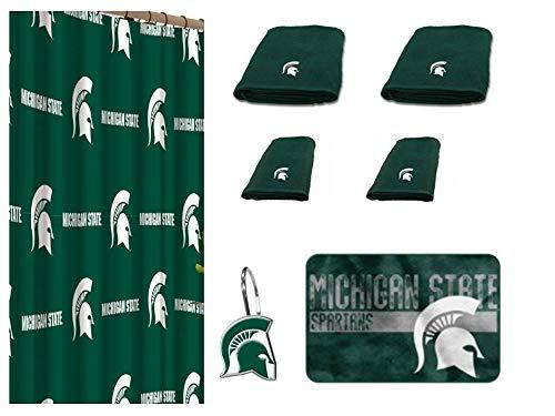 The Northwest Company NCAA Michigan State Spartans 18 Piece Bath Ensemble Includes (1) Shower Curtain, (12) Shower Hooks, (2) Bath Towels, (2) Hand Towels (1) Bath mat (Spartans Michigan State Curtain Shower)