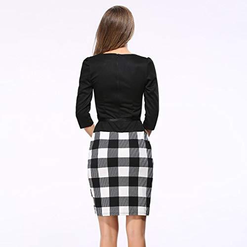 b6527a6e76c32 Teresamoon Women Colorblock Plaid Wear to Work Business Party Bodycon  One-Piece Sash
