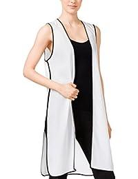Long Colorblocked Vest White Comb S