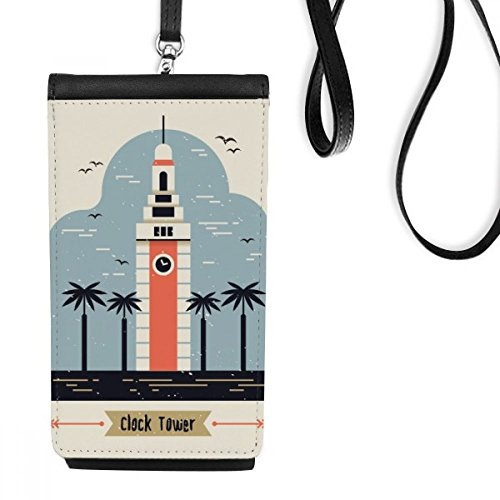 Hong Kong Clock Tower Faux Leather Smartphone Hanging Purse Black Phone Wallet Gift