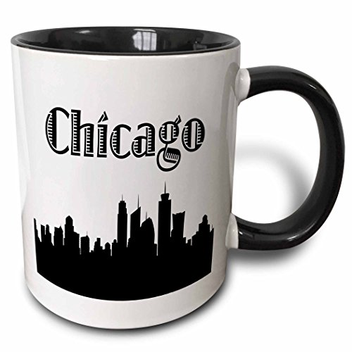 3dRose 157374_4 Chicago City Skyline Mug, 11 oz, Black -