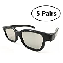 5 Pairs of Universal Passive 3D Glasses for all Passive 3D TVs Cinema and Projectors such as for RealD Toshiba LG Panasonic Sony TVs Monitor