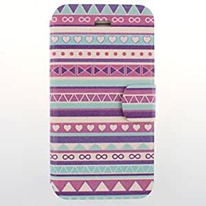 GHK - Purple National Wind Patterns PU Leather Full Body Case with Card Slot for iPhone 4/4S