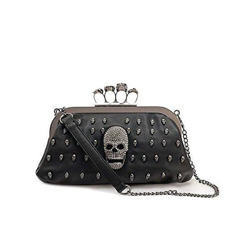 Tinksky Cool Skull Knuckle Ring Soft PU Handbag Tote Bag Shoulder Bag Evening Clutch Bag Party Bag, Valentine's Day (Skull Purse)