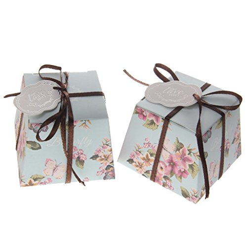 Floral Gift Boxes Wedding Favour Candy Boxes with Ribbon Included Pack of -