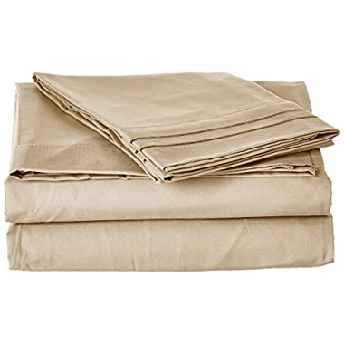 Clara Clark ® Supreme 1500 Collection 4pc Bed Sheet Set - King Size, Beige Cream