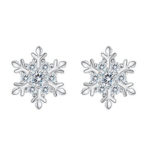 EVER FAITH 925 Sterling Silver Cubic Zirconia Winter Snowflake Flower Elegant Stud Earrings Clear (Earrings Snowflake Winter)