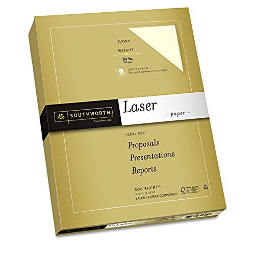 Southworth 25% Cotton Laser Paper, 8.5'' x 11'', 32 lb, Ultra Smooth Finish, Ivory, 300 Sheets (368C) by Southworth