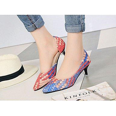 Le donne eleganti sandali SEXY DONNA PRIMAVERA tacchi T-Strap PU Party & Sera Stiletto Heel Split Joint Plaid Blu Arancione Rosa Walking , rosa , us7.5 / EU38 / uk5.5 / CN38