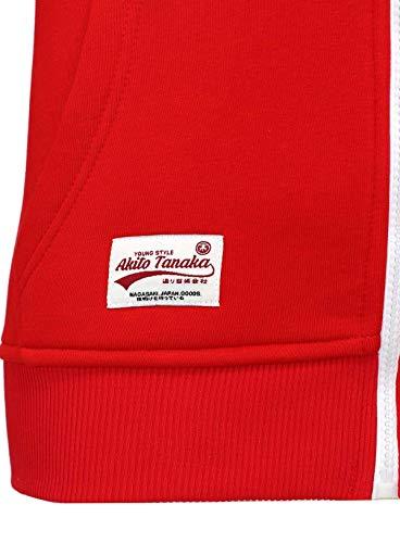 Blouson Sweat Sweater Look Sweatshirt Veste Homme 18110 Rouge Akito Jacket Capuce Optik Contraste Tanaka wgITST