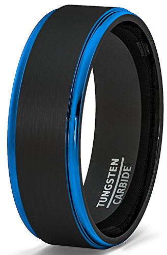 Duke Collections Mens Wedding Band Two Tone Brushed Black Tungsten Ring 8mm Blue Step Edge Comfort Fit