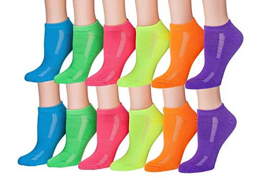 Tipi Toe Women's 12-Pairs Low Cut Athletic Sport Peformance Socks, (sock size 9-11) Fits shoe size 6-10, WS16
