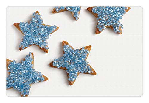 Biscuit Ornament Dog (Ambesonne Cookie Pet Mat for Food and Water, Baked Biscuits in Star Shapes with Ornaments on Top Snacks, Rectangle Non-Slip Rubber Mat for Dogs and Cats, Pale Cinnamon and Pale Slate Blue)