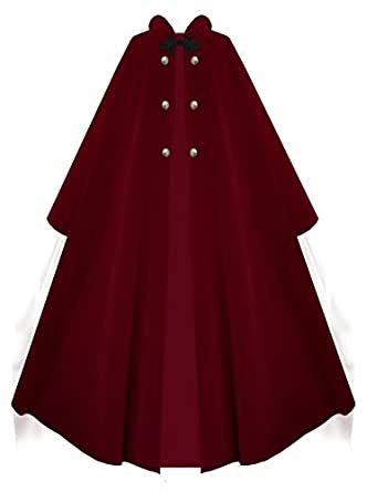Victorian Vagabond Hooded Steampunk Gothic Medieval Cape Cloak (Red)