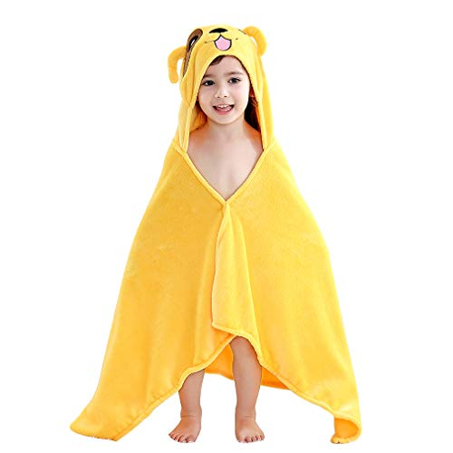 IDGIRLS Kids/Baby Unisex Coral Fleece Bath Towels Cute Animal Hooded Poncho 24x47 inch Yellow Dog