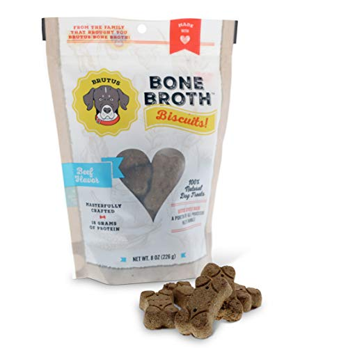 Brutus Broth Dog Biscuits | 15g of Protein in Each Treat | 100% Natural Dog Treats | Made in USA | Infused Glucosamine & Chondroitin for Healthy Joints | Human Grade Ingredients
