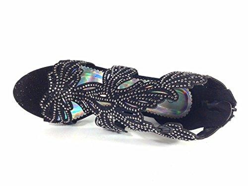 Mid Open Enzo Romeo Sandal Wedding Rhinestone Lime03N Wedge Heel Black Toe Shoes Gladiator Womens 1B1RqnW6
