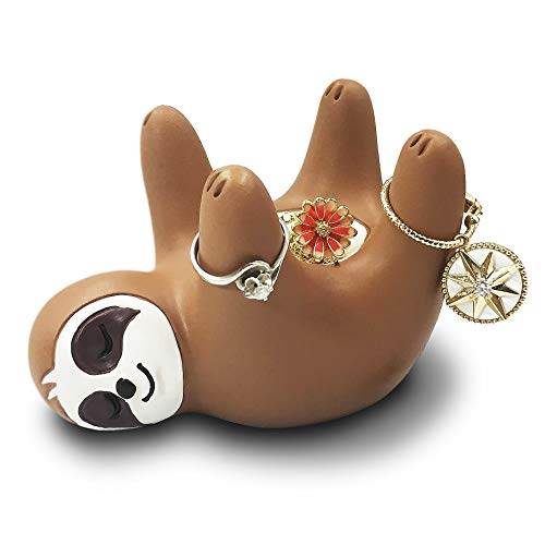 Cute Sloth Ring Holder, Funny Sloth Art Decoration Jewelry Holder Bowl/Stand-Earring/Necklaces Decor for Counter Desk Night Stand in Bathroom or Bedroom, Great Gifts for Kids Girls Girlfriend Friends (Ring Holder Ornament)