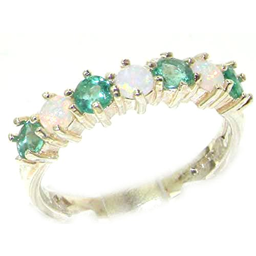 10k White Gold Natural Opal & Emerald Womans Eternity Ring - Sizes 4 to 12 (Gold Opal Emerald Ring)