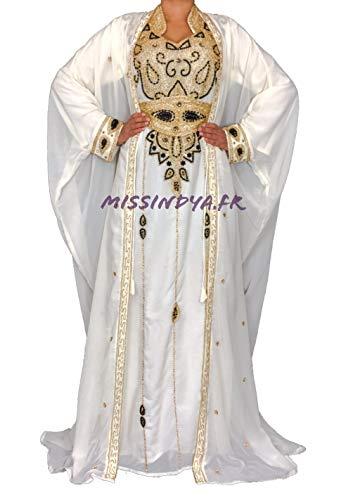 Blanc Dubai Cape Abaya Dore Papillon Missindya Farasha Oriental Caftan Robe Z5RqEcw78x