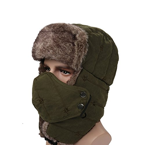 Leories Winter Trapper Trooper Hat Windproof Warm Camouflage Mask Ear Flaps Outdoor Sports Walking Skiing Hunting Hat Army Green