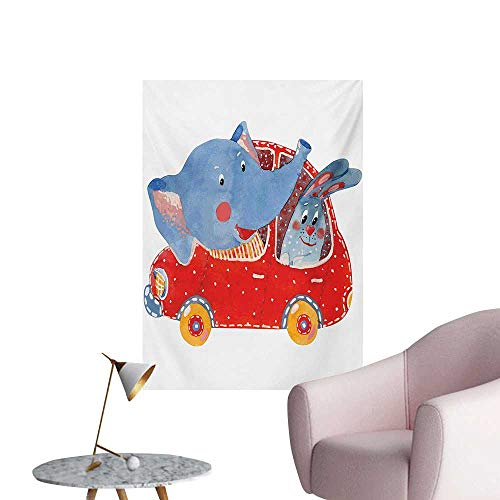 Unpremoon Cartoon Photographic Wallpaper Watercolor Sketch of Young Blushed Elephant and Hare in Small Car Friend TravelBlue Red White W32 xL36 Poster Paper ()