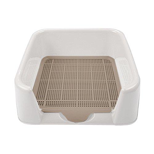 Dog Toilet, FATPET Portable Plastic Indoor Dog Toilet High Protection Portable Pad Holder (Beige)