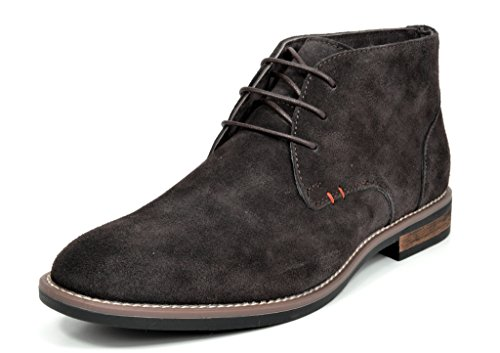 BRUNO MARC MODA ITALY URBAN-01 Men's Classic Lace Up Original Suede Leather Midsole stripe Desert Wind boots DARK BROWN SIZE (Suede Wingtip Boots)