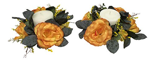 - Wholesale Silk Floral Antiqued Victorian Candle Ring, Set of 2, Gold