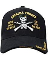 Black SPECIAL FORCES Deluxe Embroidered Mess with the Best Die Like the Rest Adjustable Baseball Hat Cap