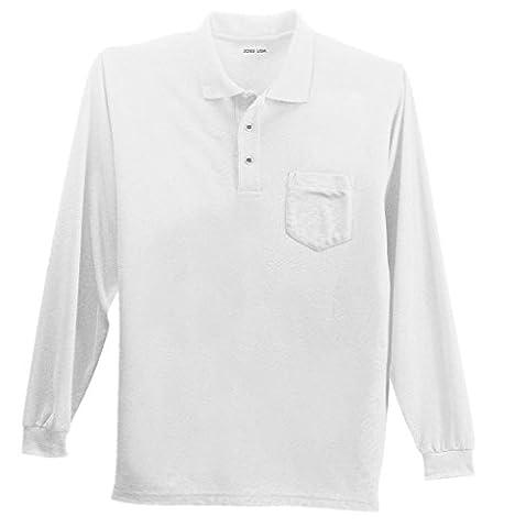 Joe's USA(tm) Mens Long Sleeve Pocket Polo -White-L
