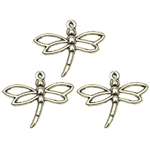 Pomeat 50 Pieces 32x26 MM Sliver Dragonfly Charms Alloy Dragonfly Charms Pendant for Necklace Bracelet Pendant Crafting Earrings ()