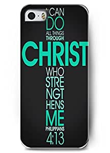 Deisign I can do all the Things through Christ Who Strengthens me - iPhone 5 / 5s - hard snap on plastic case - Inspirational and motivational life quotes