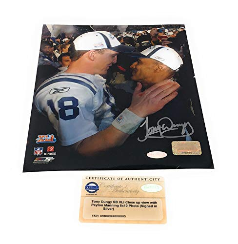 Tony Dungy Peyton Manning Indianapolis Colts Signed Autograph Super Bowl XLI 8x10 Photo Photograph Steiner Sports Certified (Sports Photographs)