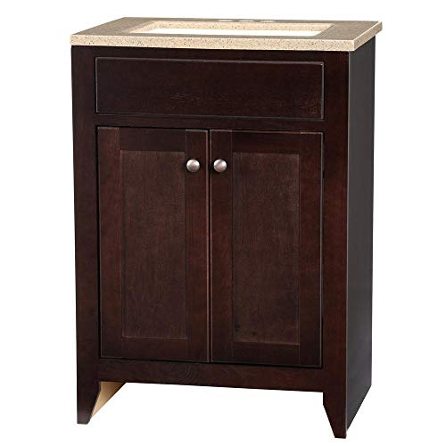- Modular 24-1/2 in. W x 18-3/4 in.D Vanity Cabinet Only in Java with Solid Surface Technology Top in Cappuccino