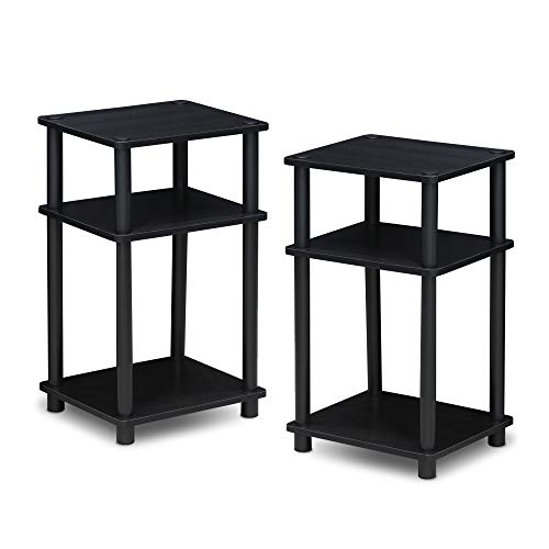 Furinno 2-11087AM Just 3-Tier Turn-N-Tube 2-Pack End Table, Americano/Black