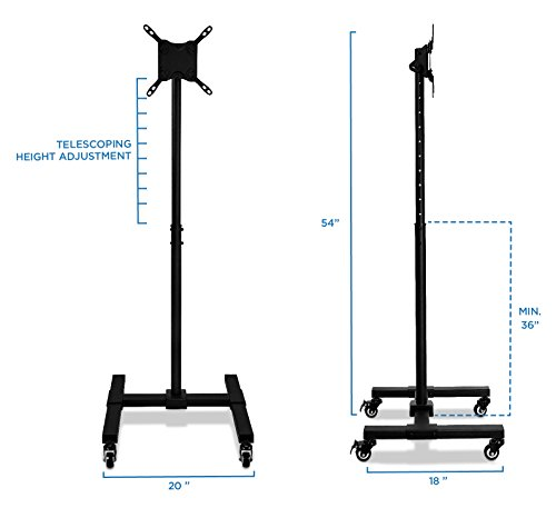 Mount It Mobile Tv Stand With Wheels Adjustable Height