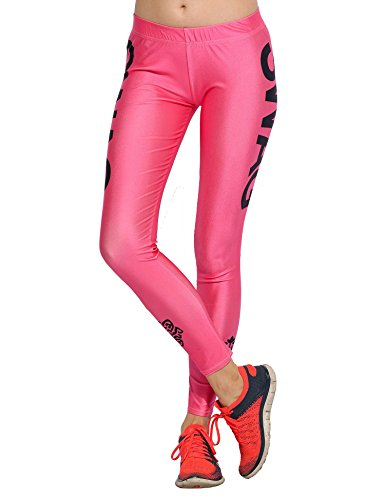 Womens Activewear Sport Fitness Yoga Leggings Pants With Side Wording Graphic Print Navy Sm