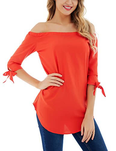 FISOUL Womens Off Shoulder Tops 3/4 Sleeve Solid Casual Loose Blouse Top Red ()