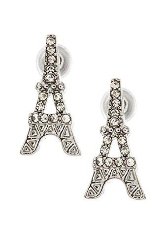 Karmas Canvas Rhinestone Pave Eiffel Tower Post Earrings (Rhodium)