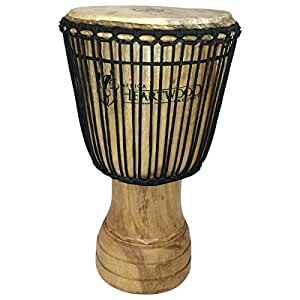 "Hand-carved Djembe Drum From Africa - 13""x24"" Classic Ghana Djembe (Fingerprint Carving)"