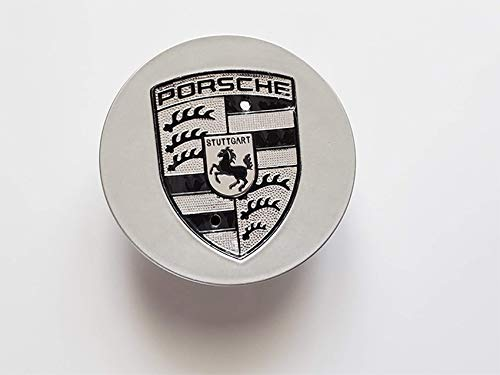(4pcs Silver gray with black crest Center caps for Porsche modern Cars - 76mm)