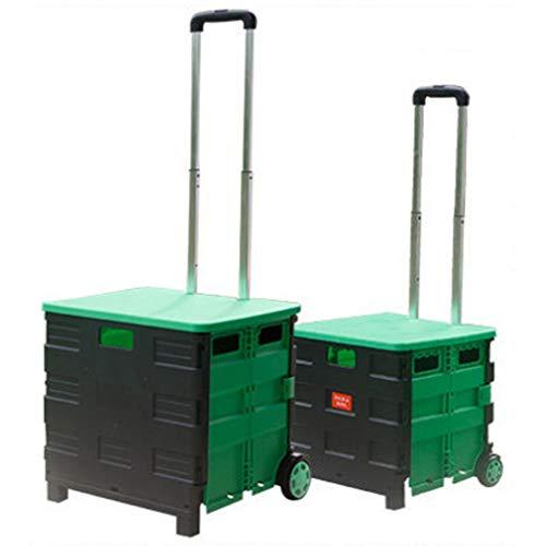 Black Plegable del con Carro Y Desmontable Portátil Compras Green Ligero Plegable Plástico DCRYWRX Mano Asiento Resistente Caja Carrito BqaaO0