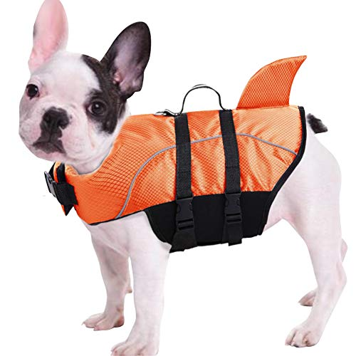 Queenmore Ripstop Dog Life Jacket, Shark Life Vest for Dogs, Size Adjustable Lifesaver Safety Jacket, Pet Saver Vest Coat Flotation Float Aid Buoyancy(Orange XL)