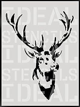 Vintage stags head stencil home wall decor art craft Painting stencil (SMALL- 17X23CM) Ideal Stencils