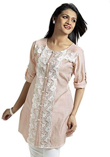 Jayayamala Robe tunique rose romantique Boho dessus les vêtements de coton de style Eco femmes Tunique de taille de la broderie