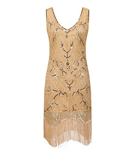 [Solatin Women's Sexy Deep V Neck Sequin Glitter Bodycon Stretchy Mini Party Dress Gold XL] (Dresses From The 1920s)